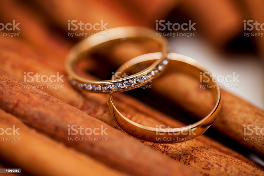 two golden wedding rings on canella stock photo