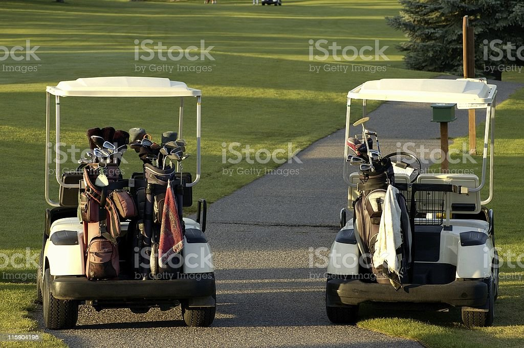 Two Golf Carts royalty-free stock photo