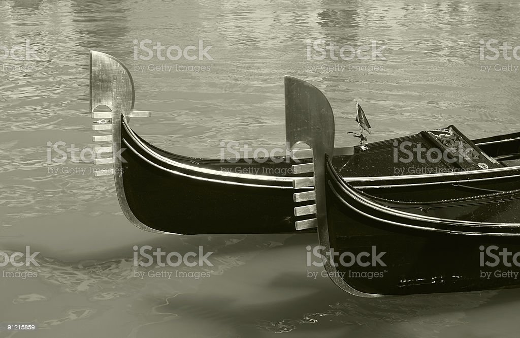 Two gondolas on Grand Canal in Venice royalty-free stock photo