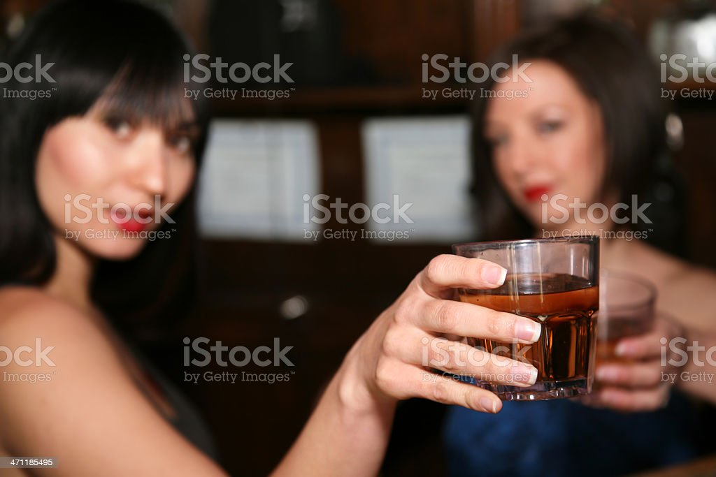 Two Good Friends cheering Drinks Together royalty-free stock photo