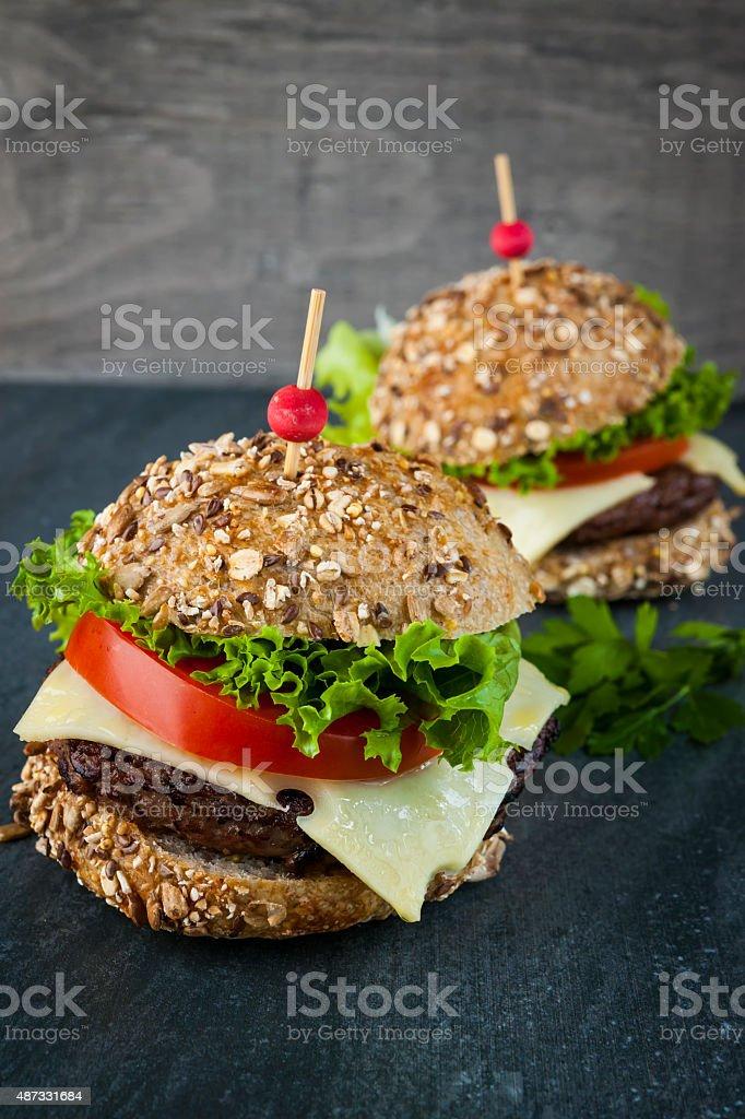 Two gourmet hamburgers stock photo
