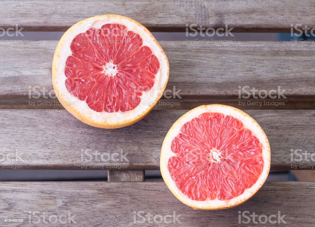 Two grapefruit halves stock photo