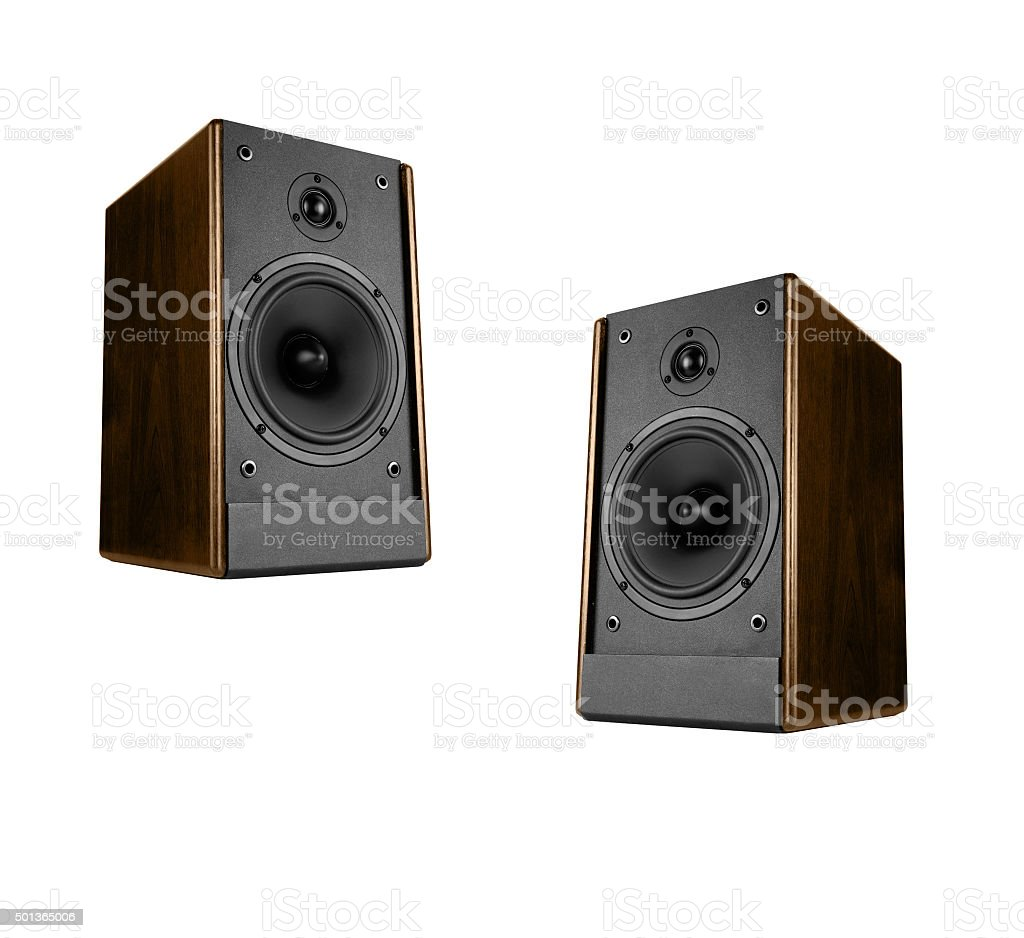 Two great loud speakers stock photo