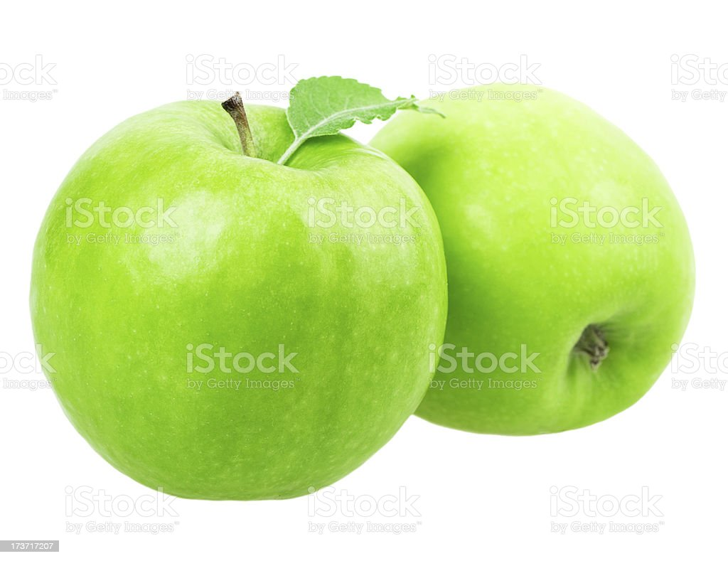 two green apple with a leaf royalty-free stock photo