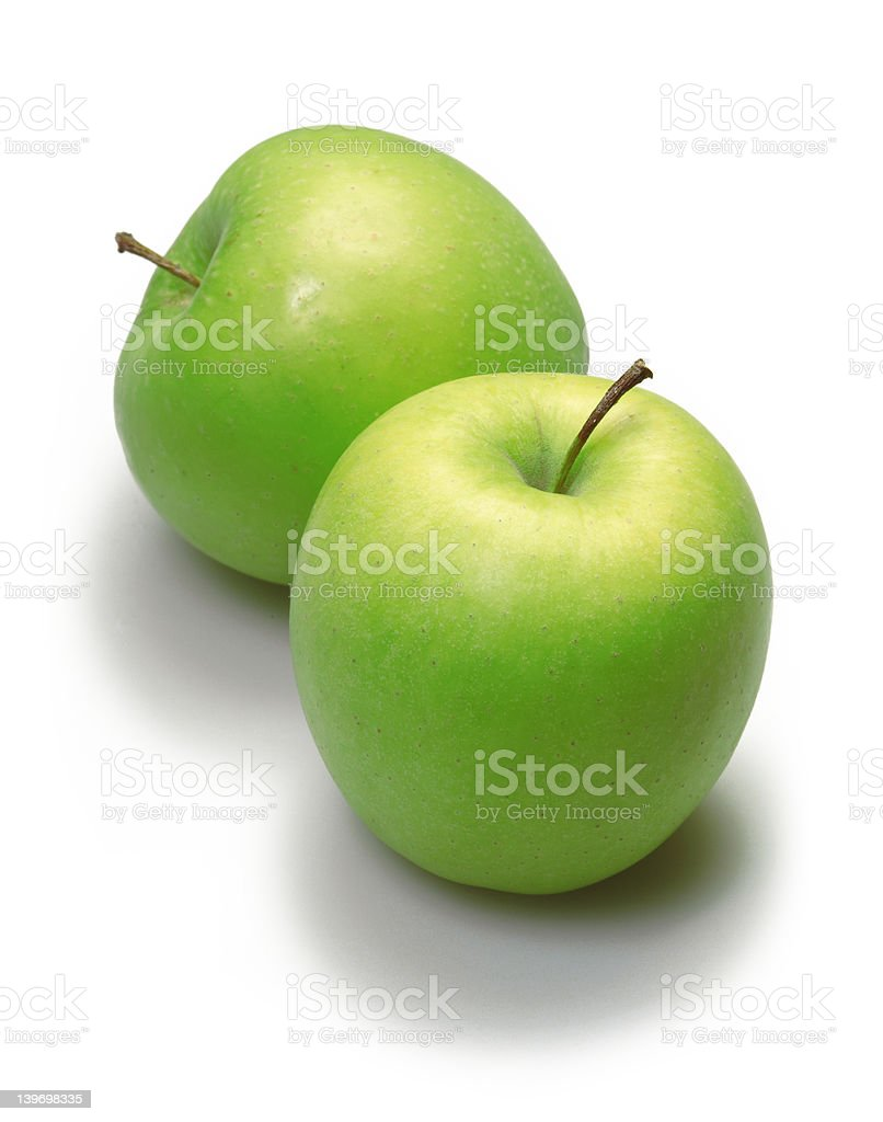 two green apples over white stock photo