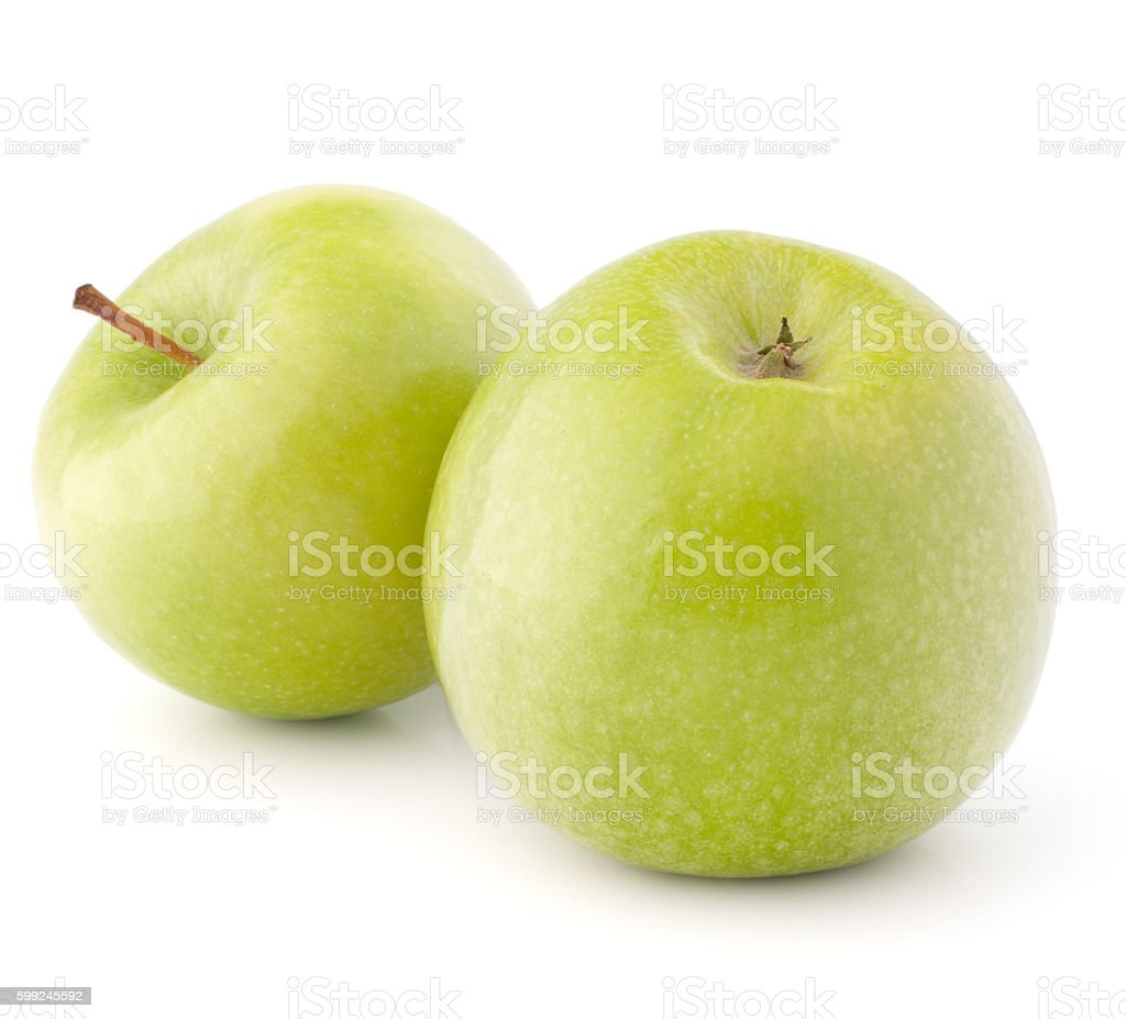 two green apples stock photo