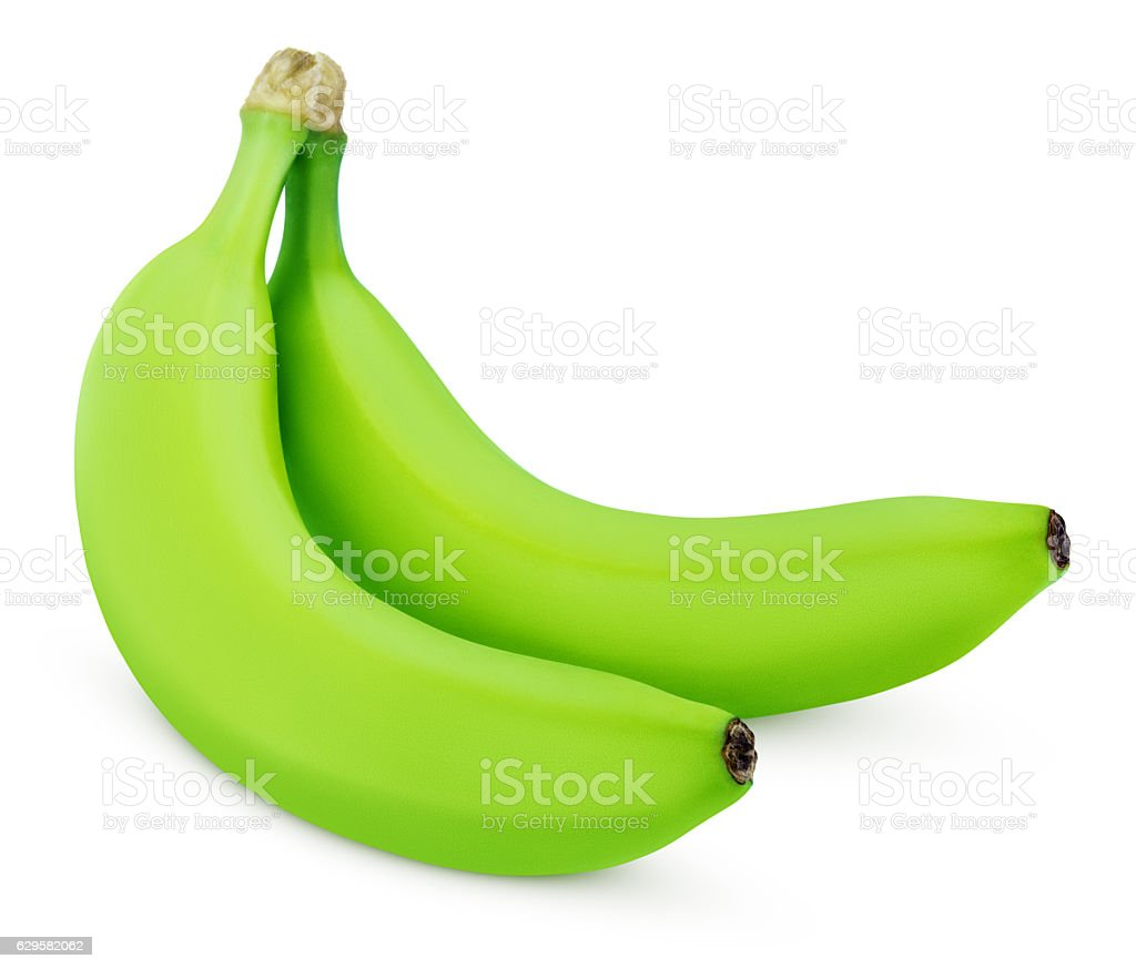 Two green bananas isolated on white stock photo