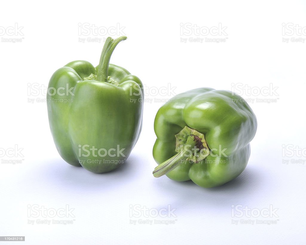 Two Green Bell Peppers stock photo