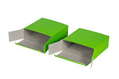 Two Green Box with lid open, green paper package isolated