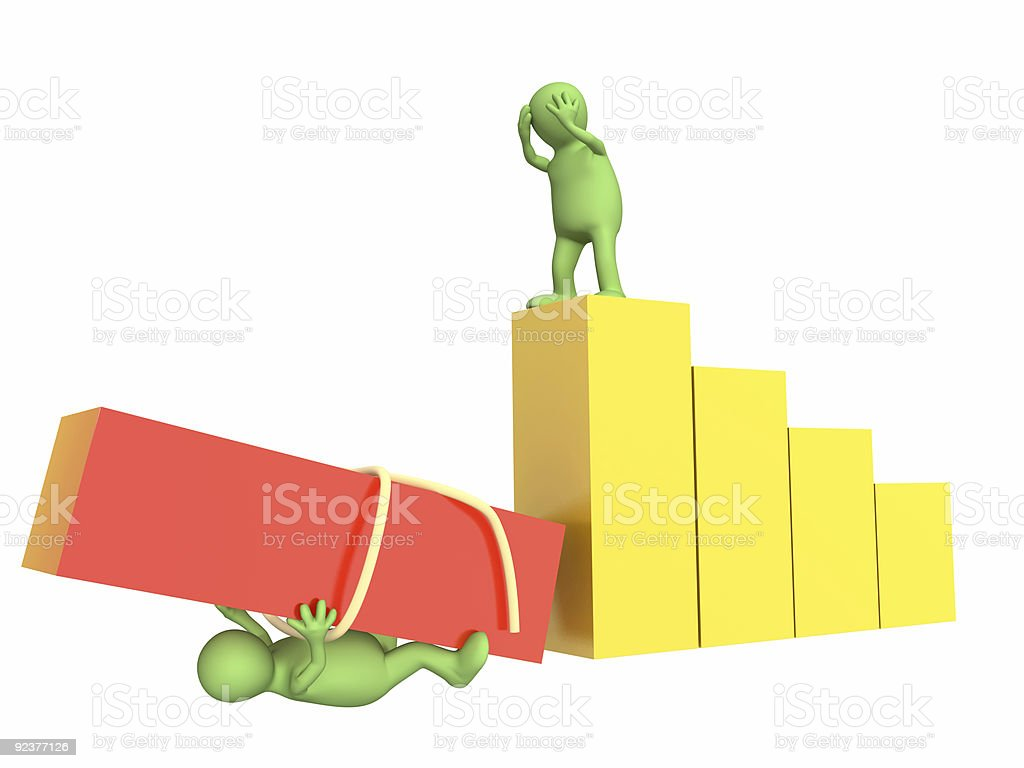 Two green figures with fallen stairs royalty-free stock photo