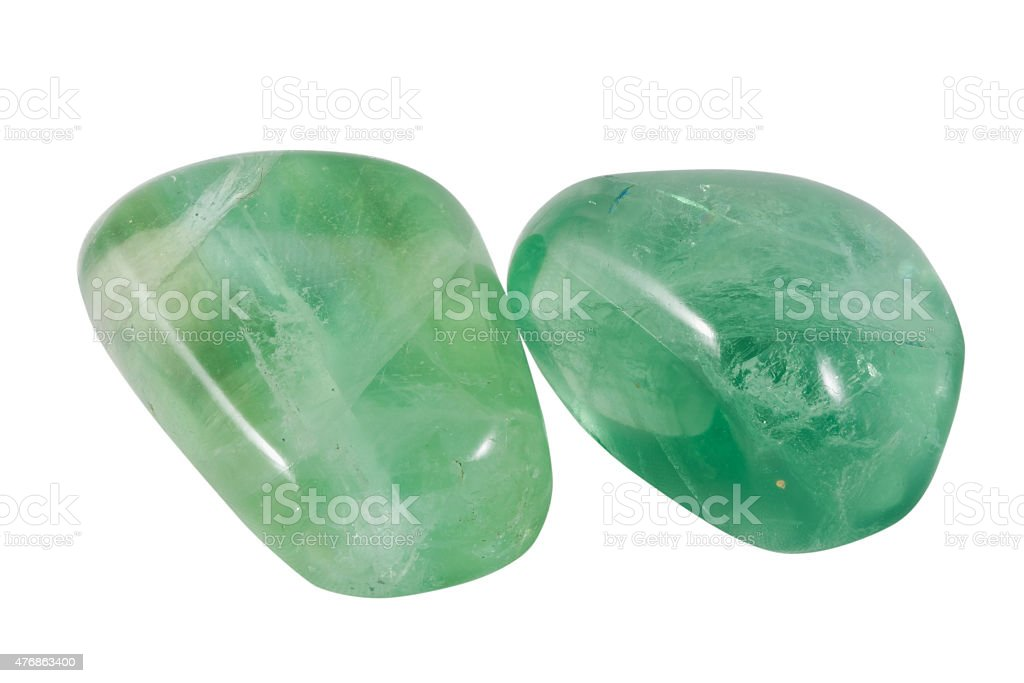 two green fluorite gems stock photo