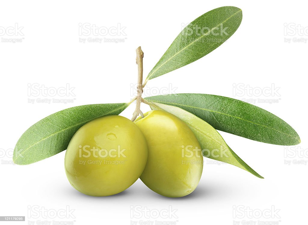 Two green olives with leaves against a white background stock photo