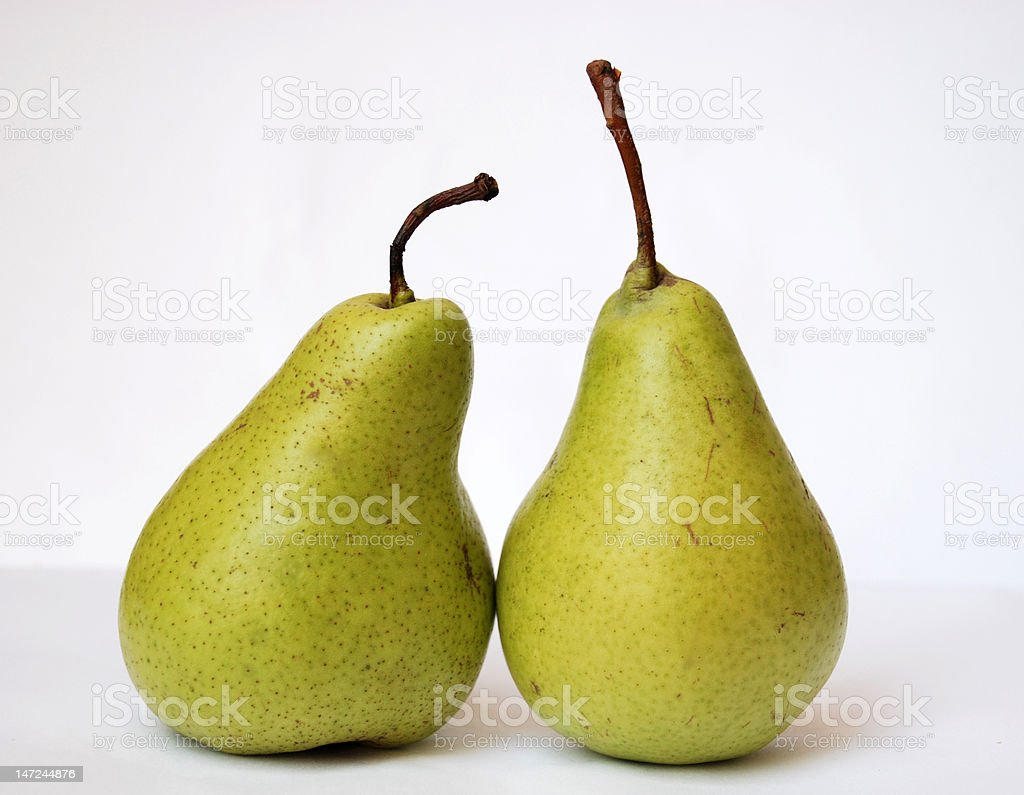 two green pears stock photo