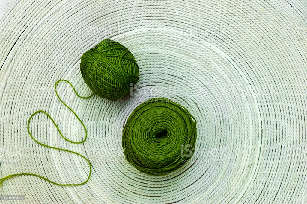 Two green skeins of wool stock photo
