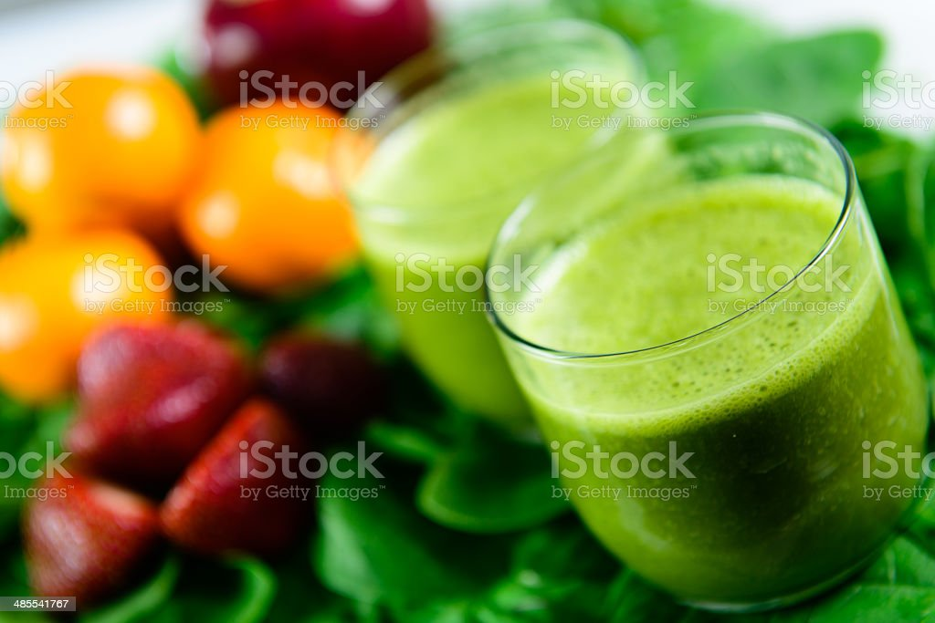Two Green Smoothies - Close Up stock photo