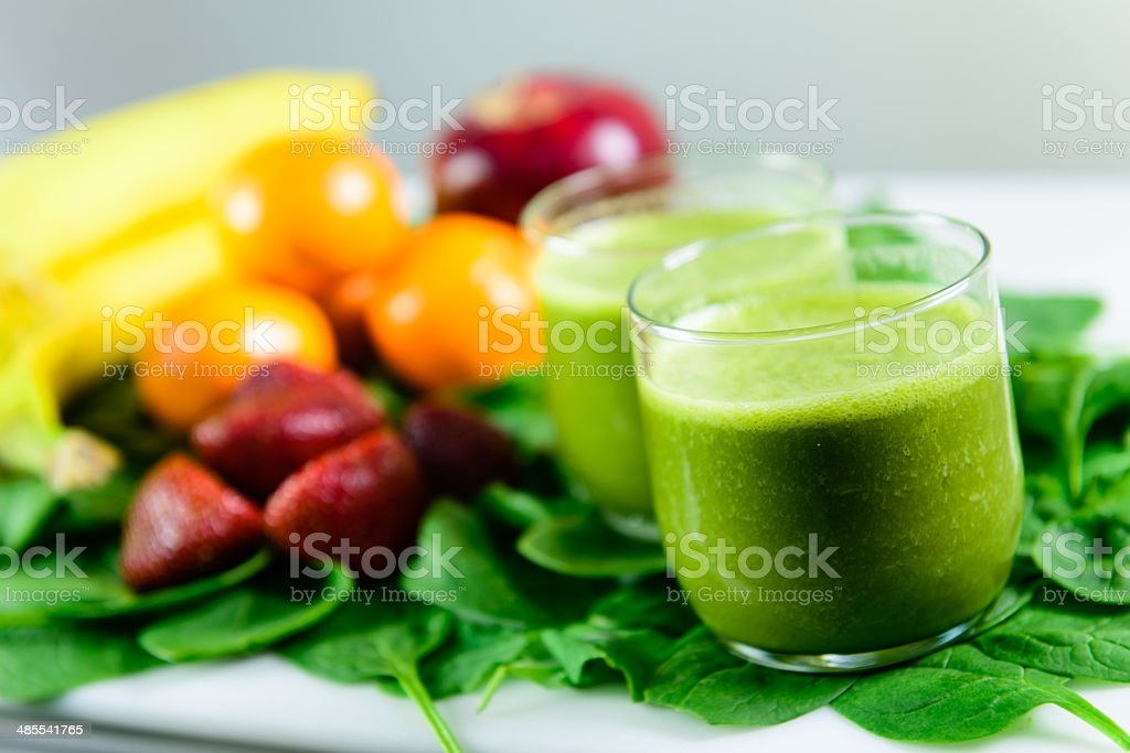 Two Green Smoothies stock photo