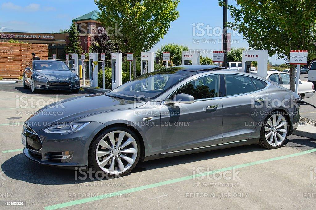 Two Grey Tesla Model S Sedans At Burlington Washington Supercharger stock photo