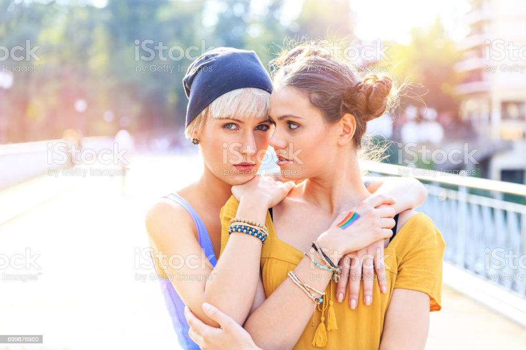 Two grilfriends having fun outdoors stock photo