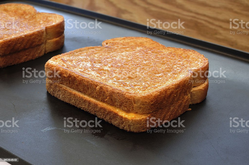 Two grilled cheese sandwiches on a hot plate stock photo