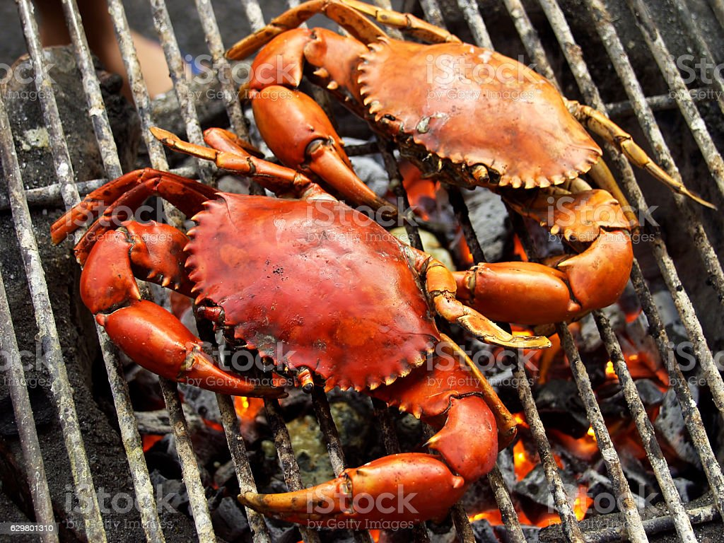 Two grilled crabs on grill. stock photo