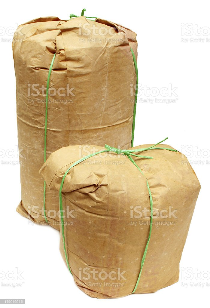 Two grocery bags made of paper royalty-free stock photo