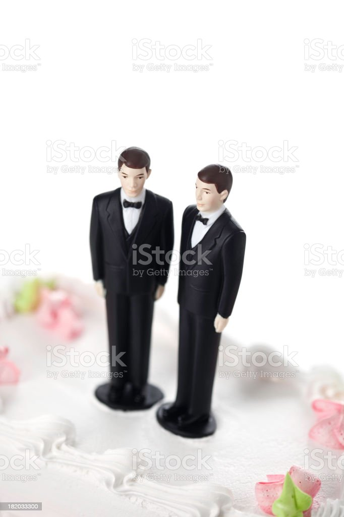 Two grooms on a cake for a gay marriage stock photo
