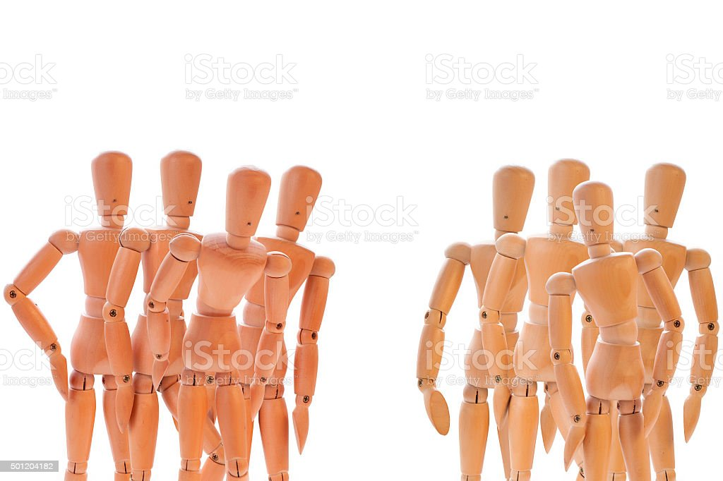 Two group of dummies stock photo