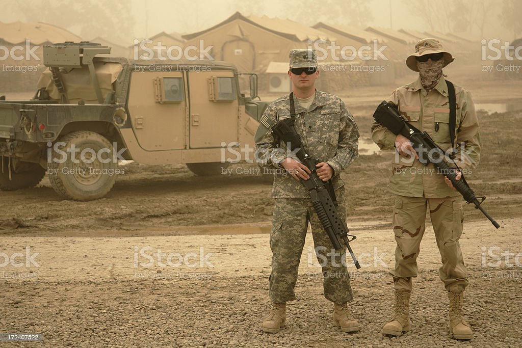Two Guys, a Truck, and Sandstorms stock photo
