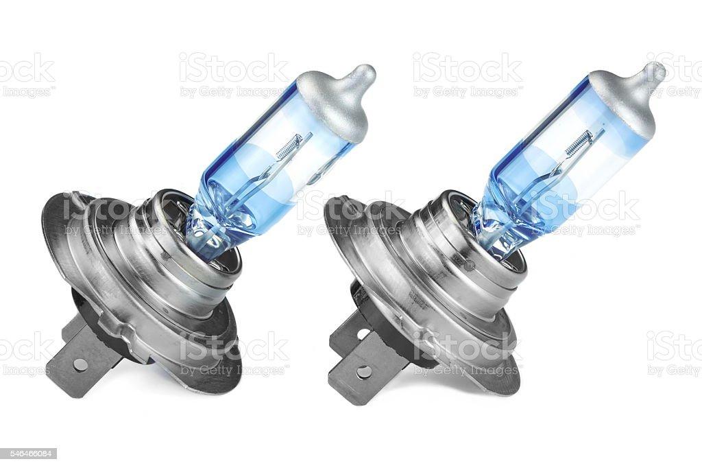 Two H7 High Power  Car Head Light Bulbs White Isolated stock photo