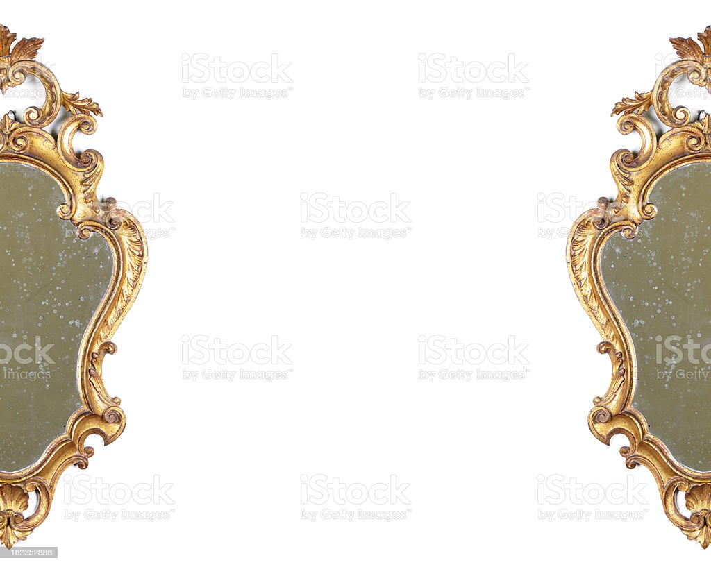 Two Half Ancient Gold Mirrors. Copy Space.Isolated stock photo