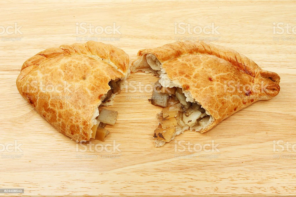 Two halves of a pasty stock photo