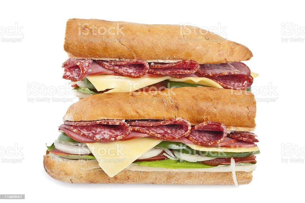two halves of long baguette sandwich royalty-free stock photo