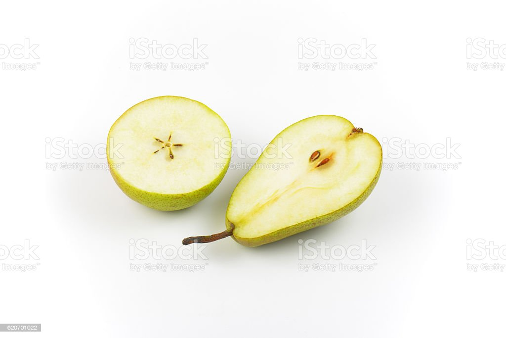 two halves of pear stock photo