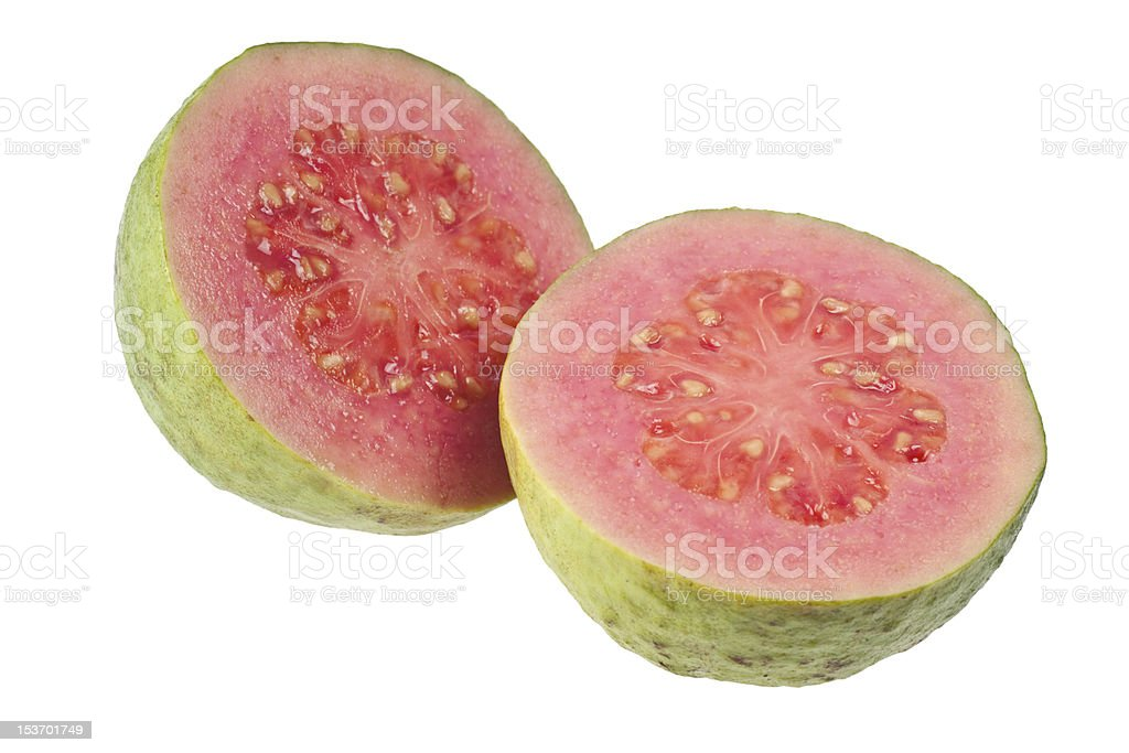 Two halves pink guava stock photo