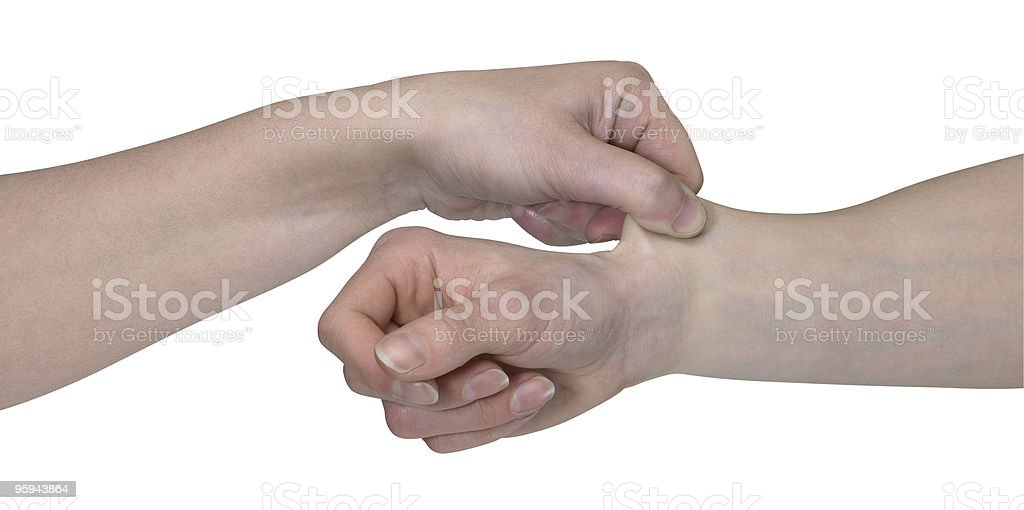 two hands and a pinch royalty-free stock photo