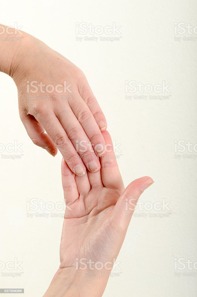 Two hands are doing stretching stock photo