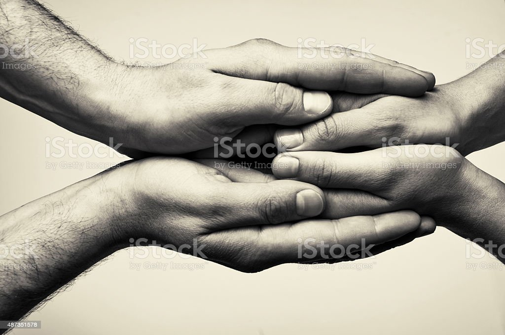 Two hands - care stock photo