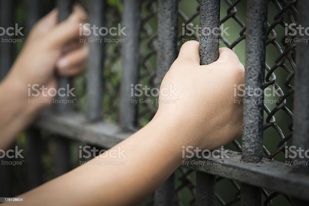 Two hands clutching prison bars royalty-free stock photo