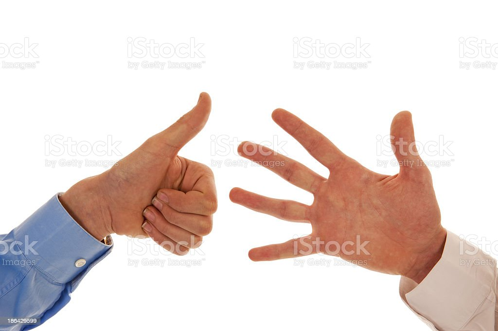 Two hands figuring number six stock photo