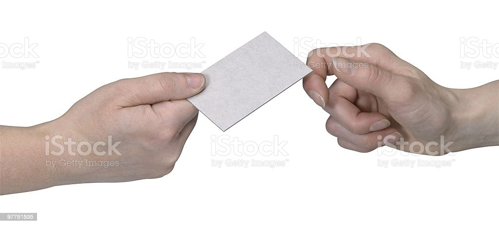 two hands handover a unlabeled card royalty-free stock photo