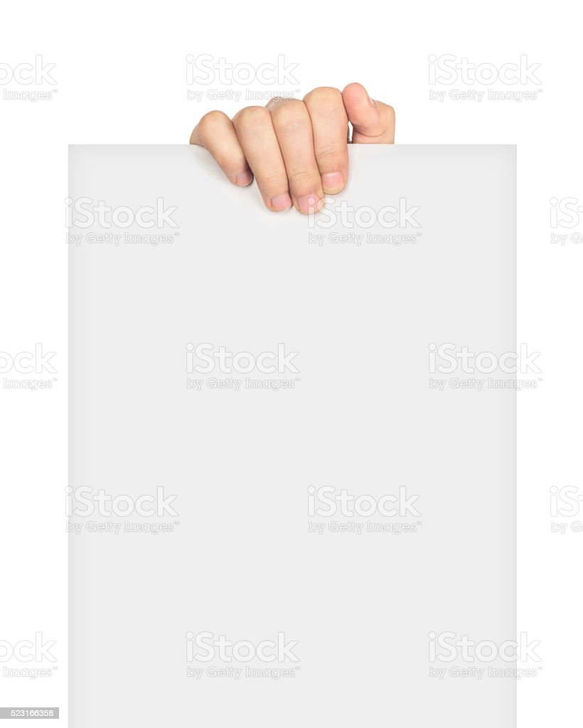 two hands holding big blank ad stock photo