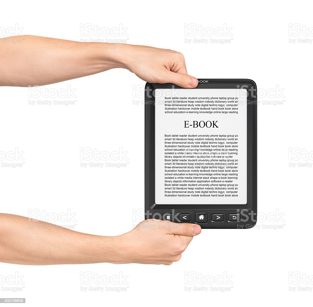 Two hands holding Board on e-book reader on a white background. stock photo