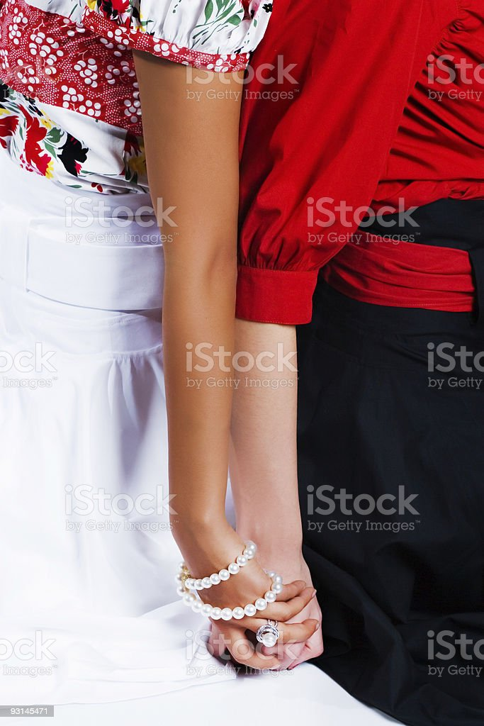 Two hands holding each other royalty-free stock photo