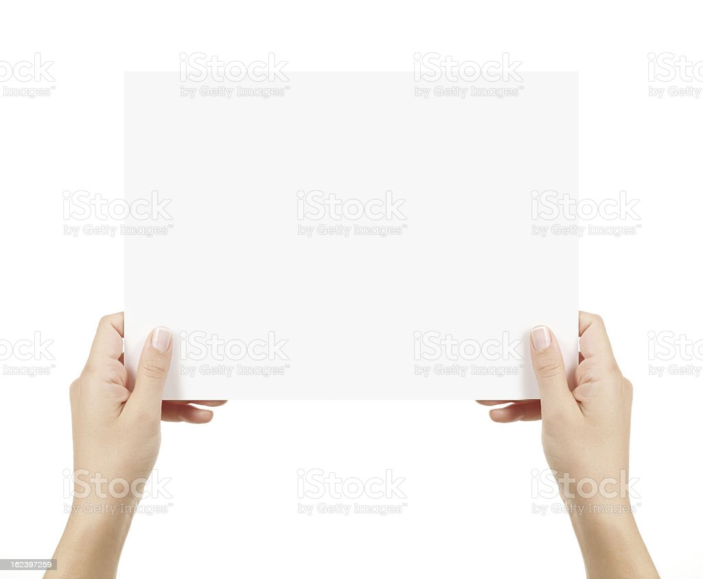 Two Hands Holding empty card isolated with clipping path white stock photo