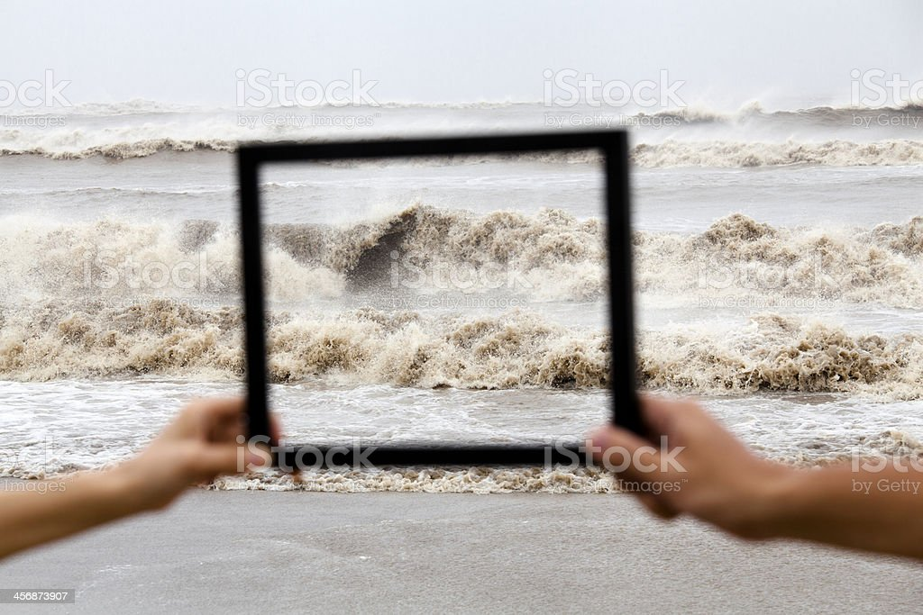 Two Hands Holding Frame stock photo