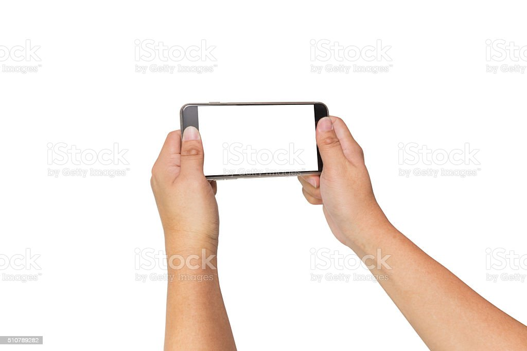 Two hands holding smart phone, clipping path stock photo