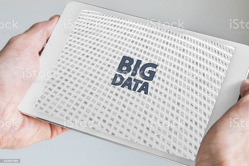 Two hands holding tablet. Big data concept. stock photo