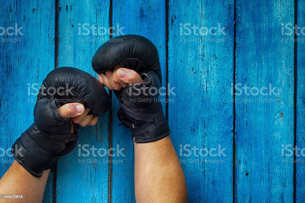 Two hands in gloves for boxing stock photo