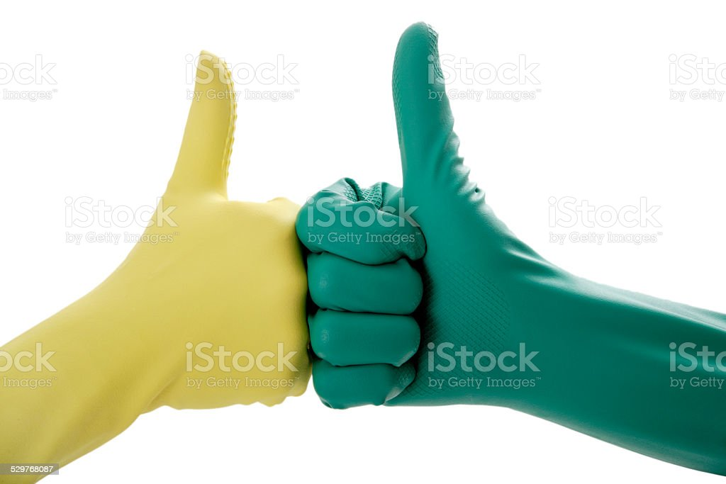 Two hands in rubber gloves gesturing OK stock photo