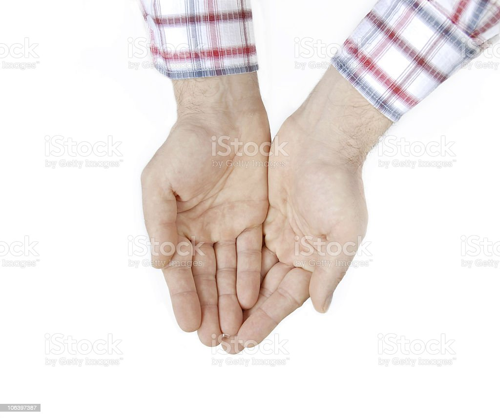 Two hands over white royalty-free stock photo